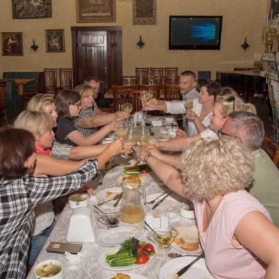 Tour to Bessarabia, Ukraine. Enjoying local food. August 2019.