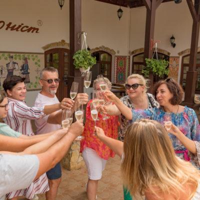 Tour to Bessarabia, Ukraine. Sparkling Ukrainian wine. August 2019.
